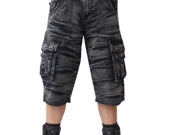 snowwashed batik shorts gris noir