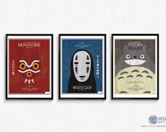 Studio Ghibli Totoro, Mononoke, Spirited Away Poster Art 3 Print set