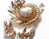 Juliana Brooch Earrings, Vintage Set AB Rhinestones Milk Glass