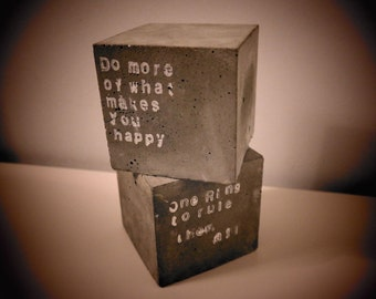 Beton, concrete  -set of two, big cube bookends, paper weights with inscription, quotes, sentences 3,9x3,9''