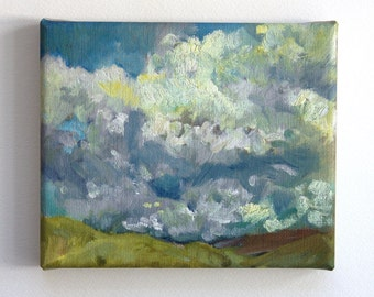 Clouds over hills. Small canvas print, mini canvas on stretchers, art print, wall art ready to hang, cloud painting 18x15cm