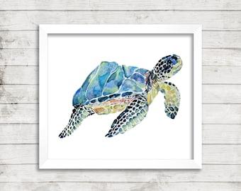 Marbled Loggerhead Sea Turtle - Giclée Print. Watercolor Art Print. Fine Art Print. Turtle Art. Nursery Decor. Kids Room Decor.