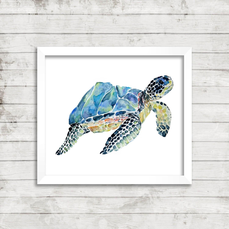 Sea Turtle Bathroom Accessories Marbled Loggerhead Sea Turtle Giclace Print Watercolor Art