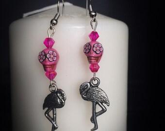 Earrings Flamingo crane ibis - flamingo - burlesque - tiki - skull - pink - rockabilly