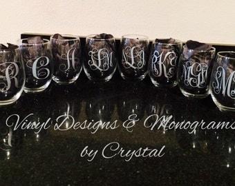 Monogrammed/Single Initial Stemless Wine Glasses