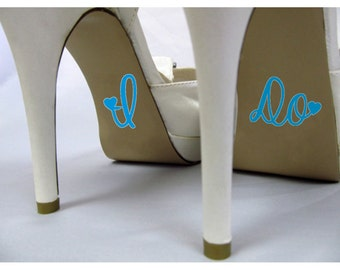 I Do Wedding Shoe Decal, Something Blue, Cute Vinyl Creative Novelty Shoe Stickers for Wedding Accessories