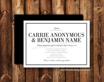 Modern Elegant Black and White Wedding Invitations Printable Digital File or Printed