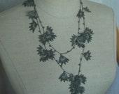 light green / reseda green filigree necklace/ bracelet/ belt with leave motiv and beads