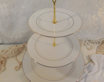 3 Tier Ivory and Gold Cake Stand, 3 Tier Ivory and Gold Cupcake Stand, 3 Tier Ivory and Gold Treat Stand, 3 Tier Dessert Stand