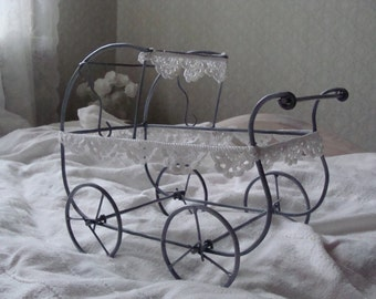 Pram, baby buggy, baby carriage, (wheels are moving), surface painted, metal pram, handmade, crocheted, cotton lace,