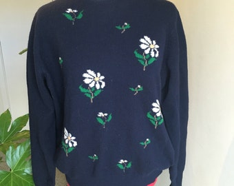 Navy floral 100% lambs wool sweater