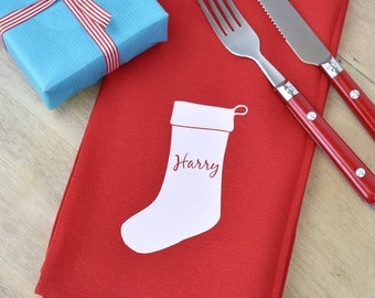 Personalised Christmas Stocking Napkin [XMNPKN-003]