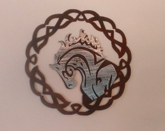 Celtic Tribal Horse Profile with Celtic Knot Silver