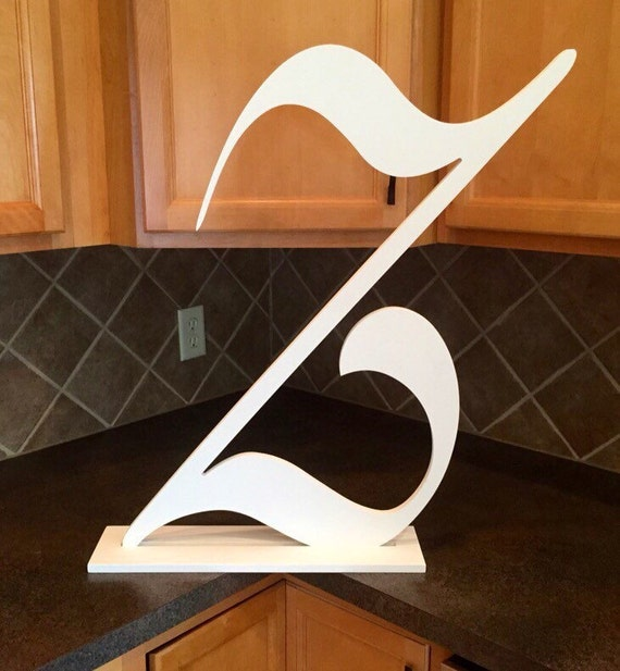Large wood monogram letter with stand extra large letter