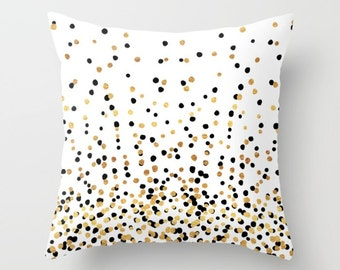 Throw Pillow - Floating Dots - Gold Black and White - Square Cover 16x16 18x18 20x20 24x24 - Insert Optional