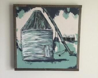 20x20 Original Painting Country Grain Bin