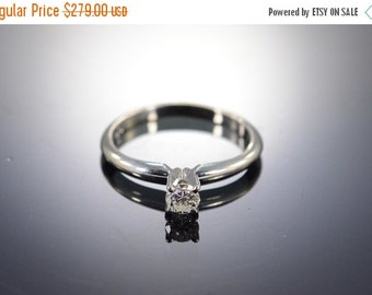 1 Day Sale 14K 0.22 Ct Round Brilliant J/SI1 Solitaire Diamond Engagement Ring Size 5 White Gold