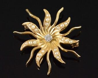 14K 0.06 CT Diamond Seed Pearl Starburst Pendant/Pin Yellow Gold