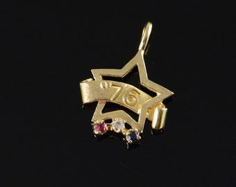 14K America BiCentennial 1776-1976 Star Sapphire Ruby Diamond Charm/Pendant Yellow Gold