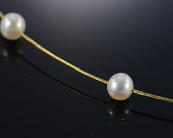 "14K 5.5mm White Pearl Cable Necklace 15.75"" Yellow Gold - EM530"