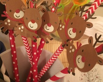 Rudolph the Red Nose Reindeer / Christmas paper straws (pack of 12)
