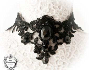 Divina obscura elegant gothic choker-Black elegant gothic lace choker-Gothic choker-Victorian gothic choker-Lace choker-alencon lace