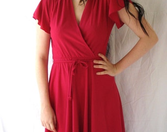 1970's Philip Gurian faux wrap dress in rich magenta