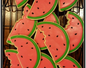 Watermelon Slices Cut Out Sugar Cookies - 1 Dozen