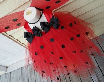 Girls Ladybug tulle tutu dress; Girl's ladybug costume with accessories; Ladybug birthday dress; Red and black tulle dress; Ladybug tutu