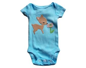 Robbin's Egg Blue Onesie With Felt Deer Applique; Felted Deer Onesie Bodysuit, Baby Girl's Easter Onesie; Baby Girl Spring Onesie