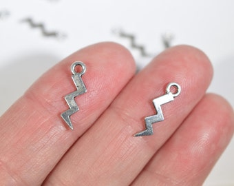 20 Lightning Bolt Charms - Lightning Charms - Silver Charms - Bracelet Charms - Earring Charms - Bulk Lightning Charms - SC316