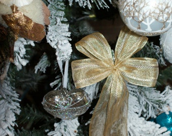 5 wired large bows in set- gold mesh ribbon-christmas tree,wreaths,present,gift decoration-handmade bows to order