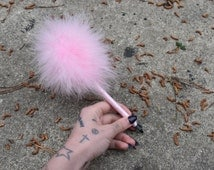 Baby pink marabou feather 90s Clueless fluffy feather pen wrapped in satin ribbon baby spice Ariana Grande Scream Queens inspired REFILLABLE