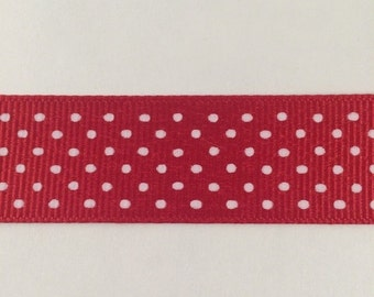 ON SALE 7/8 Inch Red and White Swiss Dot Grosgrain Ribbon
