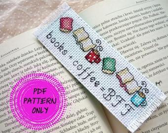 Pattern - Cross stitch bookmark - Books + coffee = BFF (download pdf)