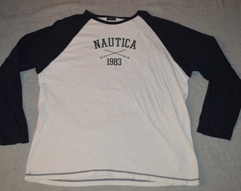 Mens XL Nautica Vintage VTG Long Sleeve Spell Out Color Block Canoe Paddle Shirt Cotton