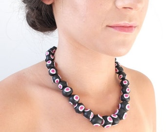 Statement necklace, necklace, jewellery, elegant, funky, one of a kind necklace, unique, black, pink, chunky, bold, polymer clay, clay beads