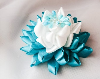 Turquoise Kanzashi Hair Clip, Gift For Girl, Unique Hair Clip, Hair Clip For Girl