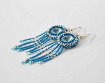 Swarovski earrings, tassel earrings, bridesmaids earrings, party earrings, beadwork earrings, crystal earrings, dangle earrings