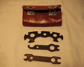 Vintage 1960's Red Leather Case for Bicycle Tools - SET