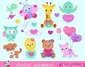 50% OFF SALE Lovely Animals Valentine Clipart,- Digital Clipart Set, Bear Clipart,  Bird Clipart, Puppy Clipart.
