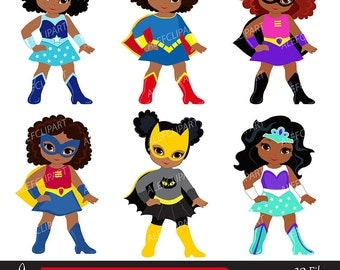 Girls Superhero clip art, Supergirl clipart, African american, Multicultural .