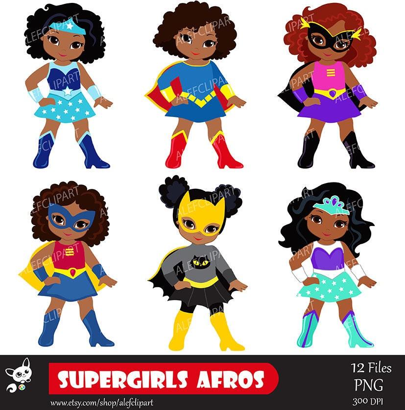 Clip Art Supergirl Clipart supergirl clipart etsy girls superhero clip art african american multicultural
