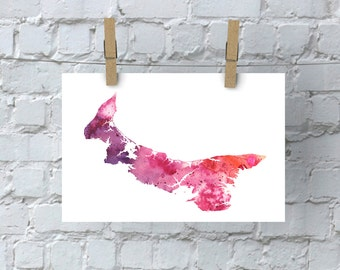 Watercolor Map of Prince Edward Island, Canada in Orange, Red and Purple - Giclée Print of My Own Watercolor Painting