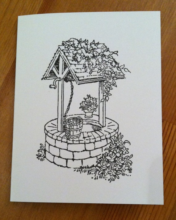 Prettyfolio wishing well hand stamped coloring card set of 8adult coloring m4hsunfo