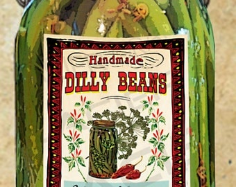 Dilly Beans Label Dilly Beans Canning Label Dilly Beans Tags EDITABLE Digital Download Printable Tag Canning Labels Download DIY Gift Tag