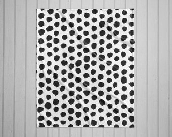 Black and white dalmatian spot pattern modern plush throw blanket with white back