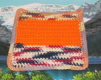Upcycle hand crochet double thick hot pad UHP 021