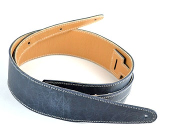 "Blue Leather Guitar Strap 2 1/2"" Wide, Handmade Vintage Blue Style Leather, For Electric & Acoustic Guitar  U1-118-1C"