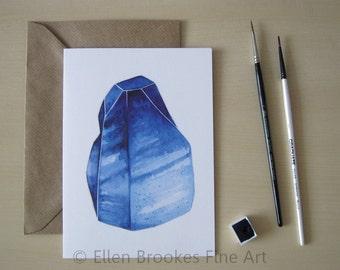 Greeting Card - Blue Sapphire Crystal - September Birthstone - Birthday - Recycled - Gemstone - Watercolor Illustration Print